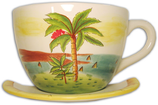 Tropical Palm Hanging Teacup Wall Vase Anne Ormsby Online Gallery